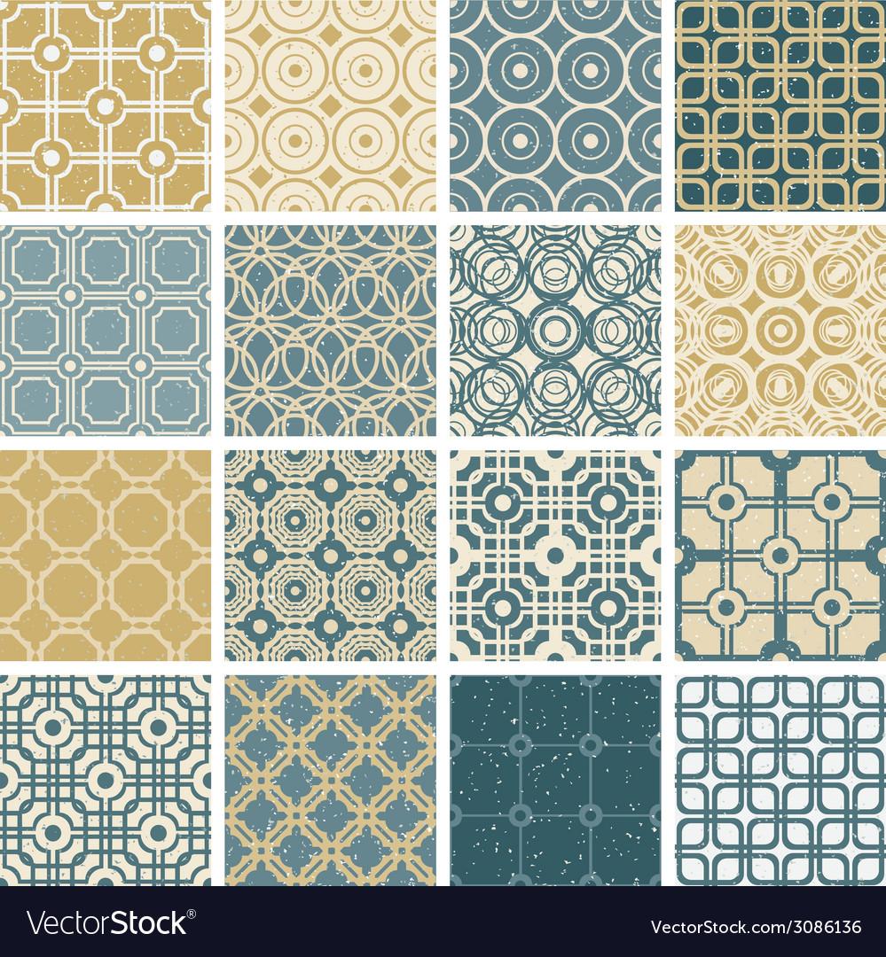 Vintage tiles seamless patterns set 2 vector | Price: 1 Credit (USD $1)