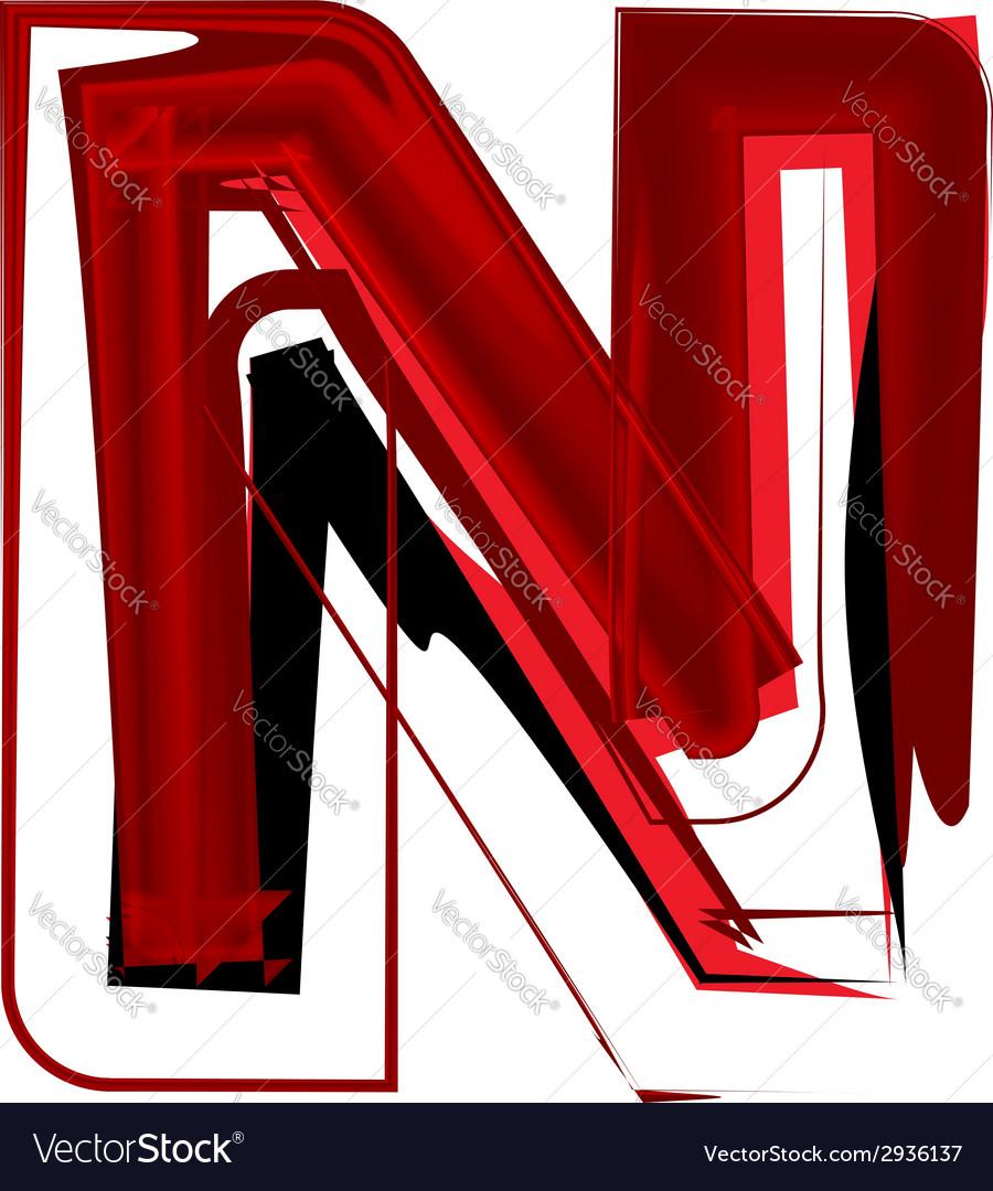 Artistic font letter n vector | Price: 1 Credit (USD $1)
