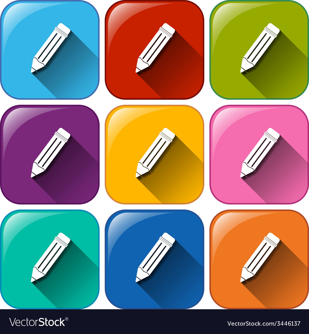 Buttons with pencils vector | Price: 1 Credit (USD $1)