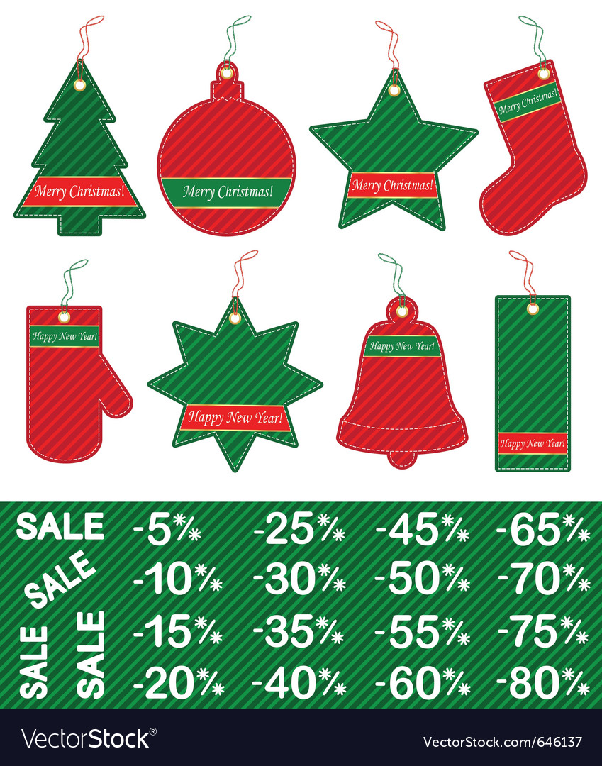 Christmas and new year price tags vector | Price: 1 Credit (USD $1)