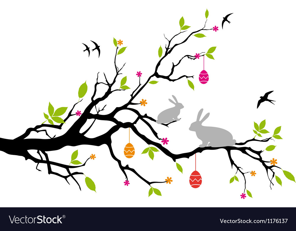 Easter bunnies sitting on a spring tree vector | Price: 1 Credit (USD $1)
