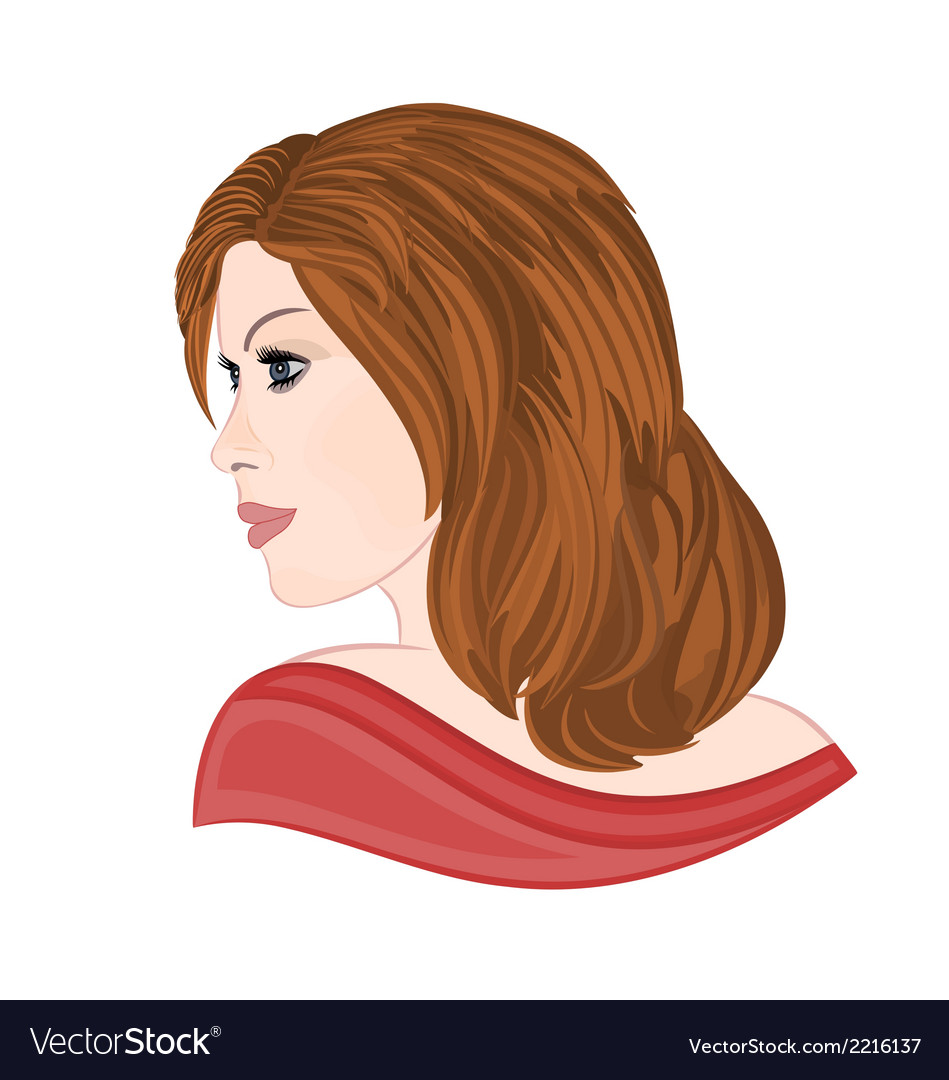 Girl with brown hair elegance portraits vector | Price: 1 Credit (USD $1)