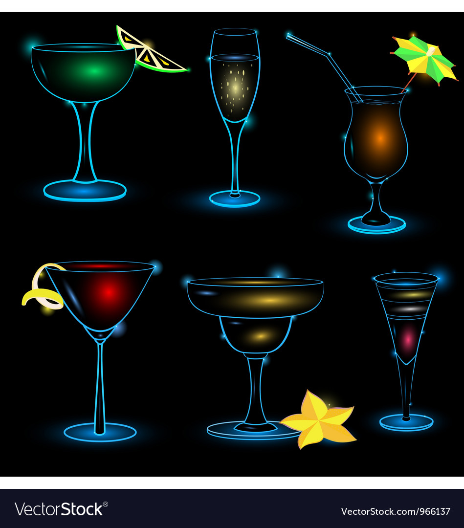 Neon cocktail icon set vector | Price: 1 Credit (USD $1)