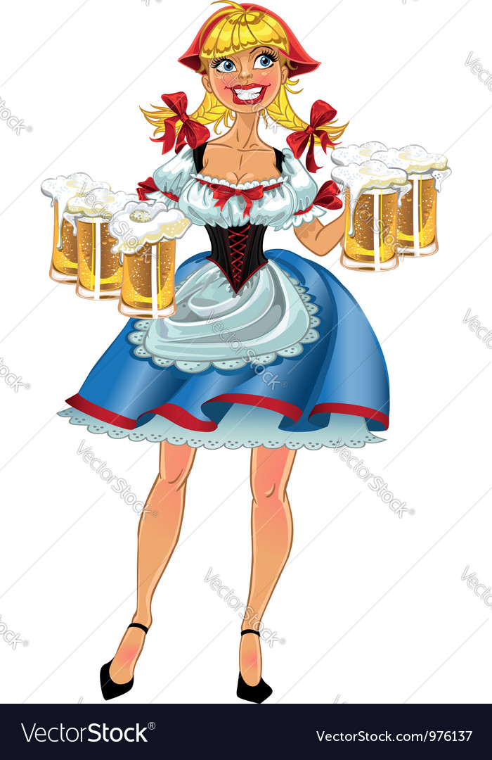 Octoberfest blond girl with beer vector   Price: 3 Credit (USD $3)