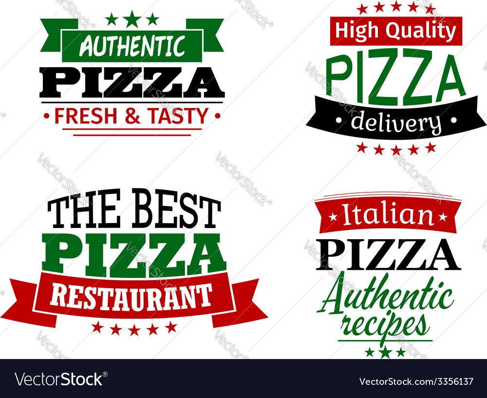 Pizza labels and banners set vector | Price: 1 Credit (USD $1)