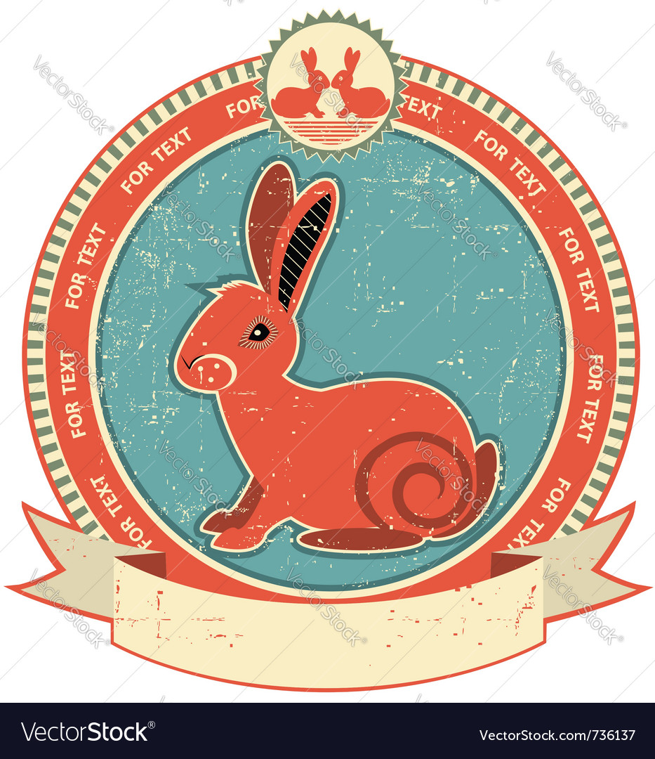 Rabbit label vector | Price: 1 Credit (USD $1)