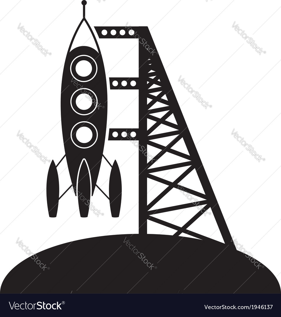 Rocket and launching pad vector | Price: 1 Credit (USD $1)