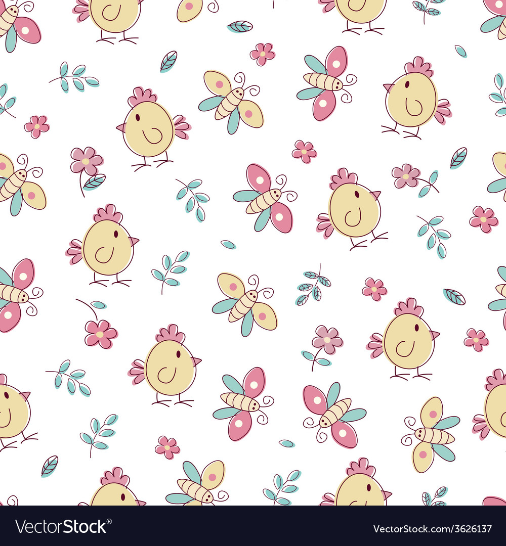 Seamless pattern with birds and flowers vector | Price: 1 Credit (USD $1)
