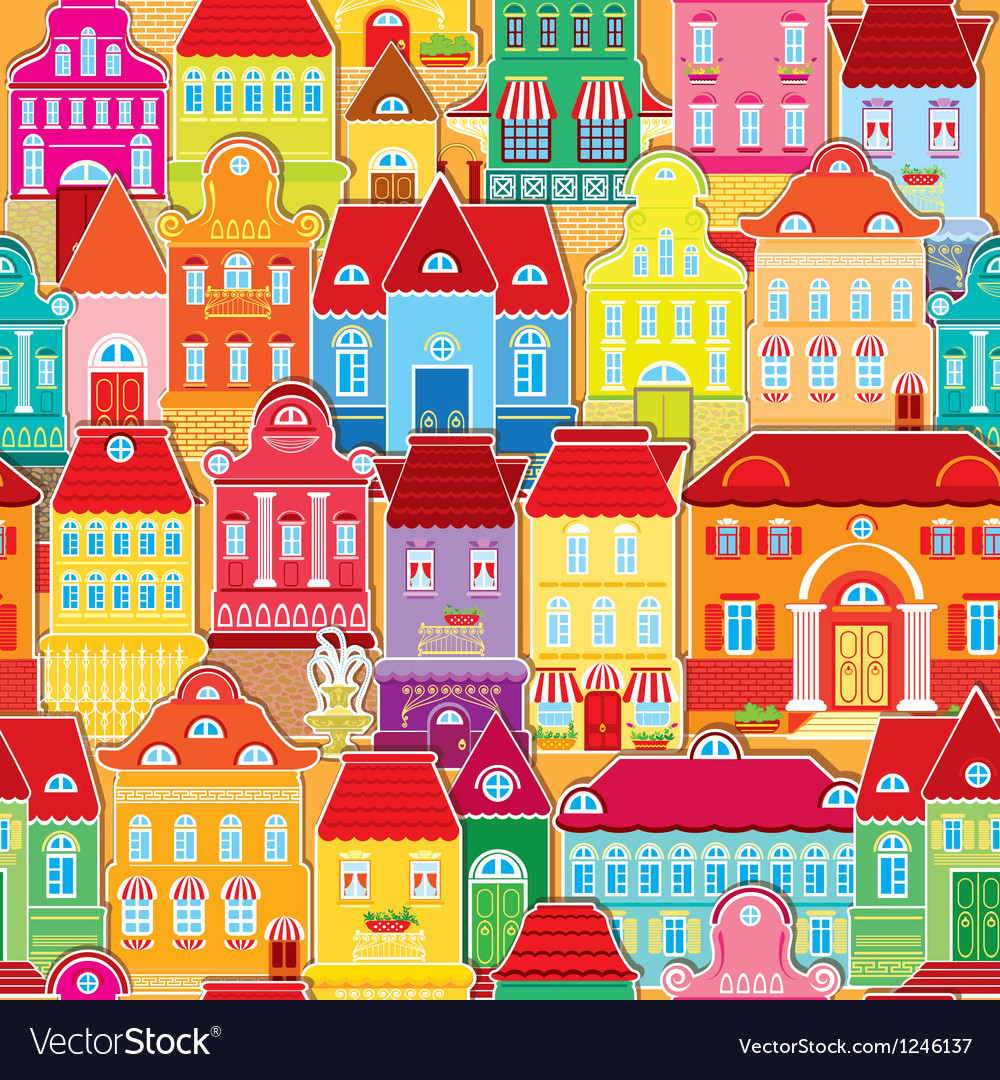 Seamless pattern with colorful houses vector | Price: 1 Credit (USD $1)