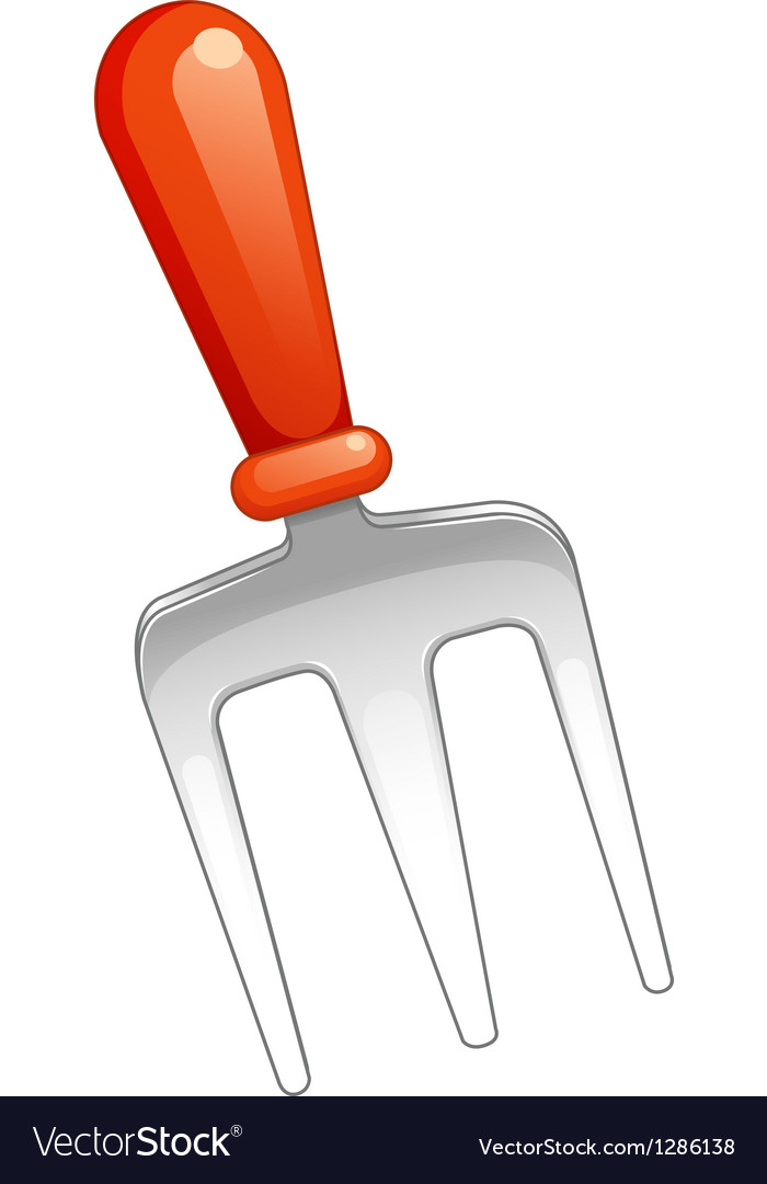 A fork with a red handle vector | Price: 1 Credit (USD $1)