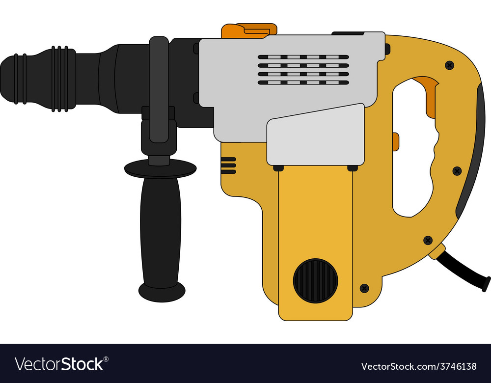 Big electric hammer drill color vector | Price: 1 Credit (USD $1)