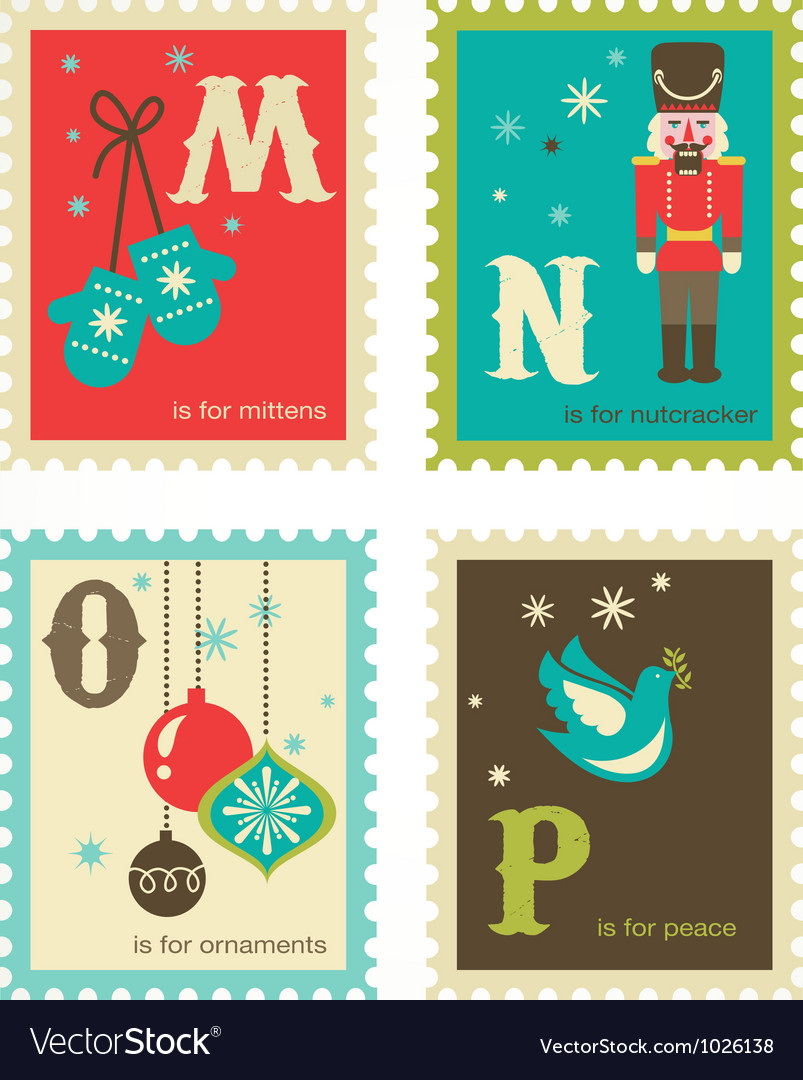 Christmas retro alphabet with cute icons vector | Price: 1 Credit (USD $1)