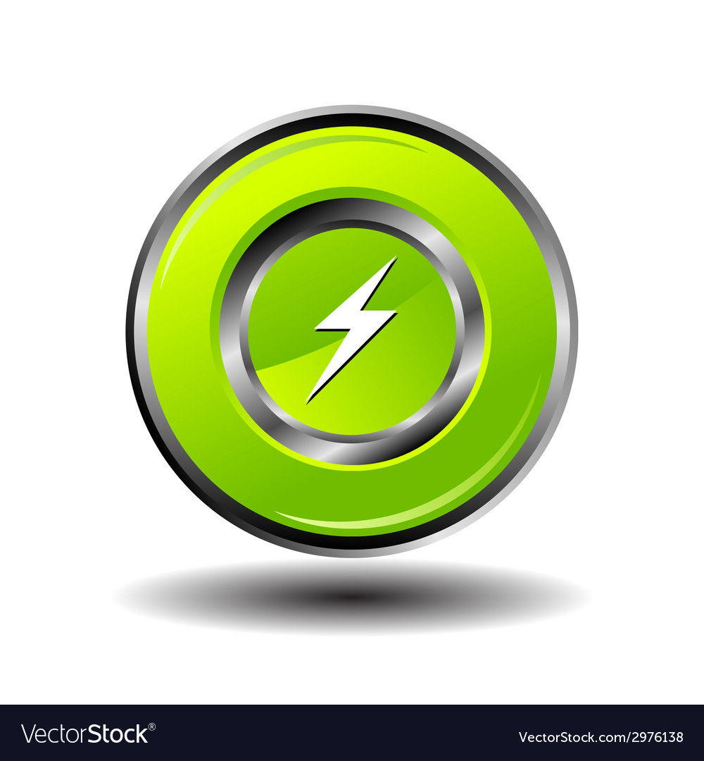 Electricity bolt icon charge button vector | Price: 1 Credit (USD $1)