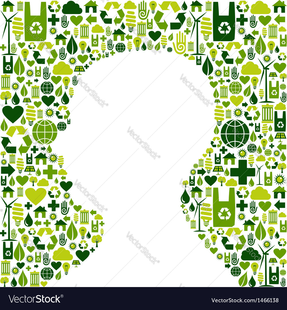 Human head with green icons background vector | Price: 1 Credit (USD $1)