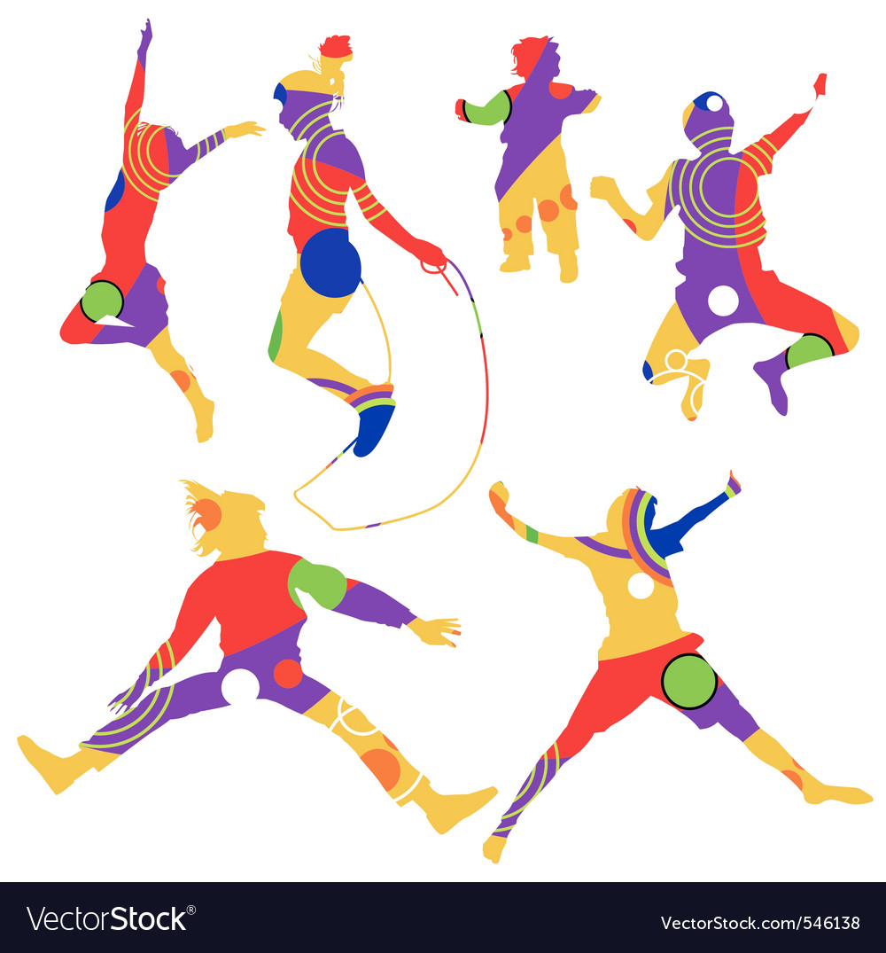 Isolated colorful silhouettes of kids jumping vector | Price: 1 Credit (USD $1)