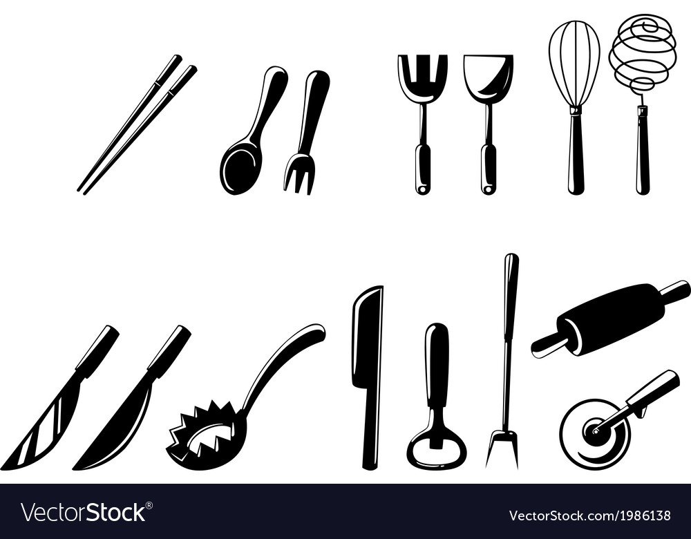 Isolated kitchen tools set vector | Price: 1 Credit (USD $1)
