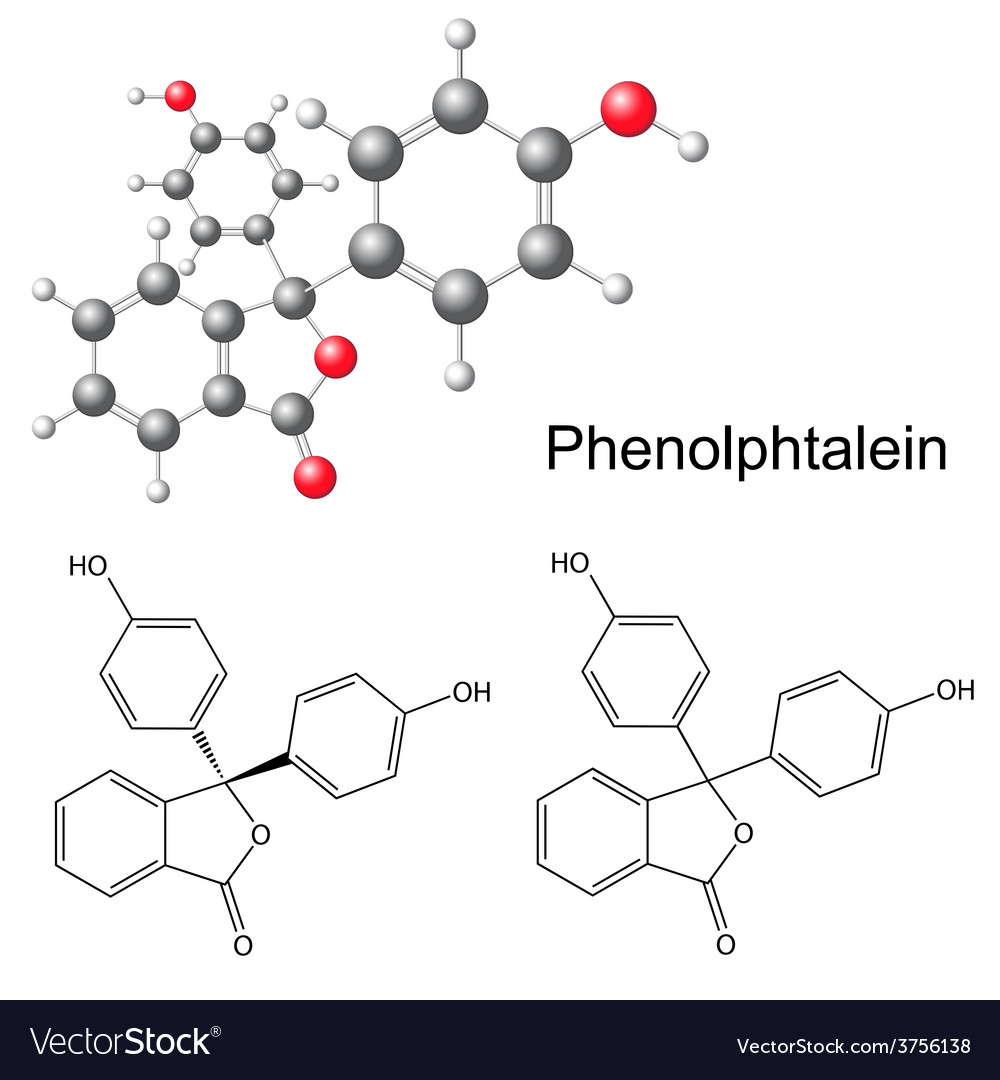Phenolphthalein molecule - structural formula vector | Price: 1 Credit (USD $1)
