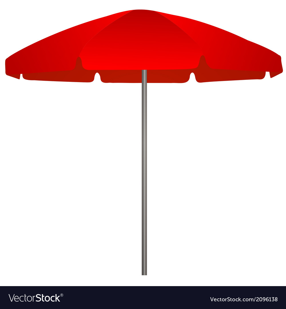 Red beach umbrella on white background vector | Price: 1 Credit (USD $1)