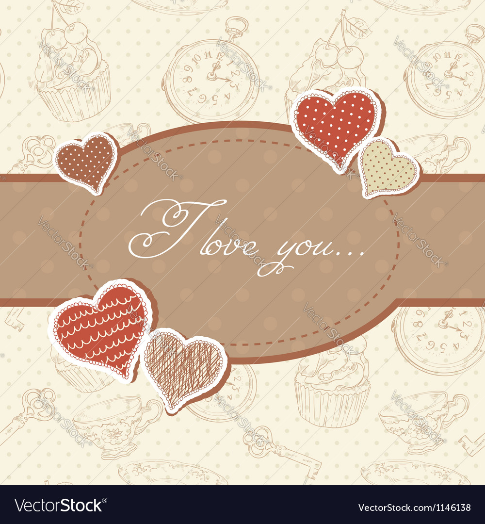 Romantic vintage valentine invitation postcard vector | Price: 1 Credit (USD $1)