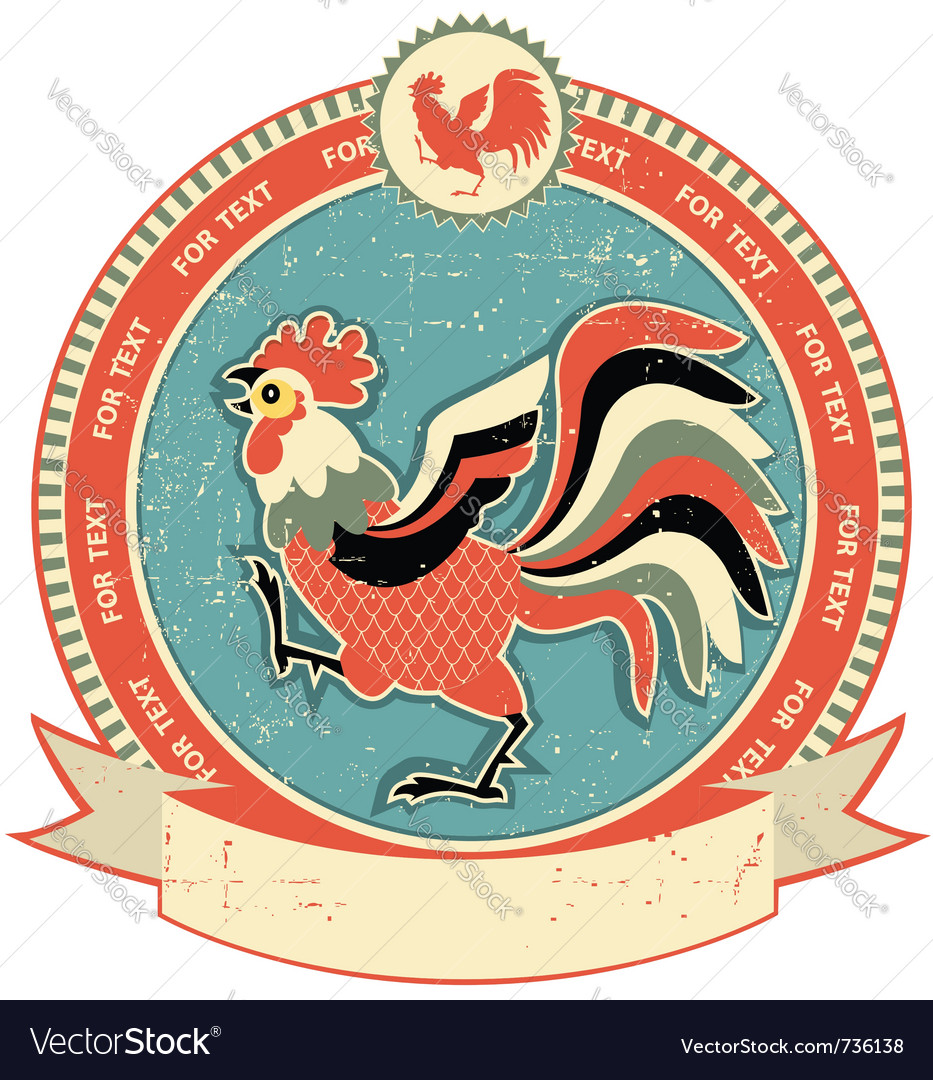 Rooster label vector   Price: 1 Credit (USD $1)