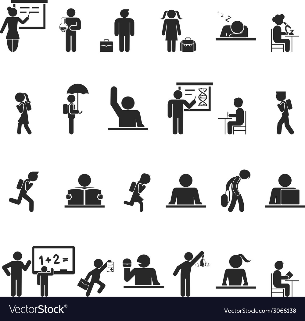Set of black school children silhouette icons vector | Price: 1 Credit (USD $1)