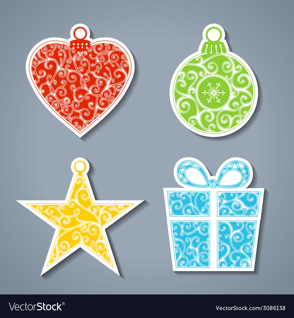 Set of paper christmas stickers vector | Price: 1 Credit (USD $1)