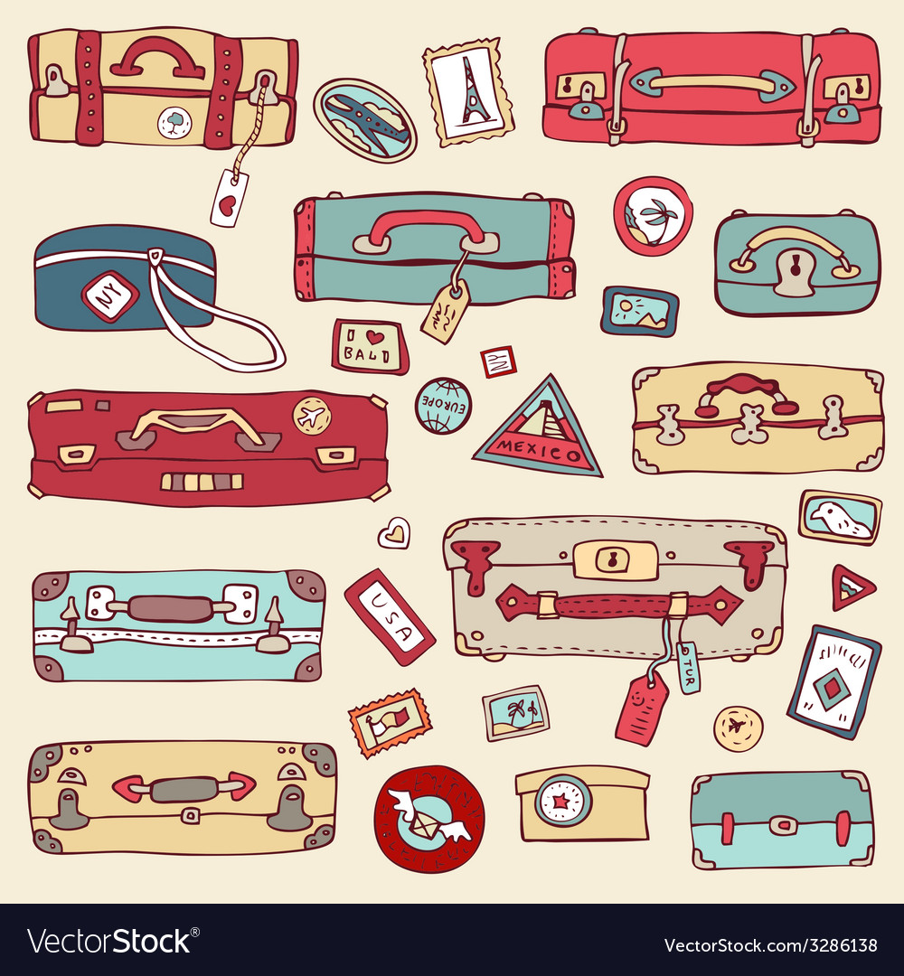 Vintage suitcases set travel vector | Price: 1 Credit (USD $1)