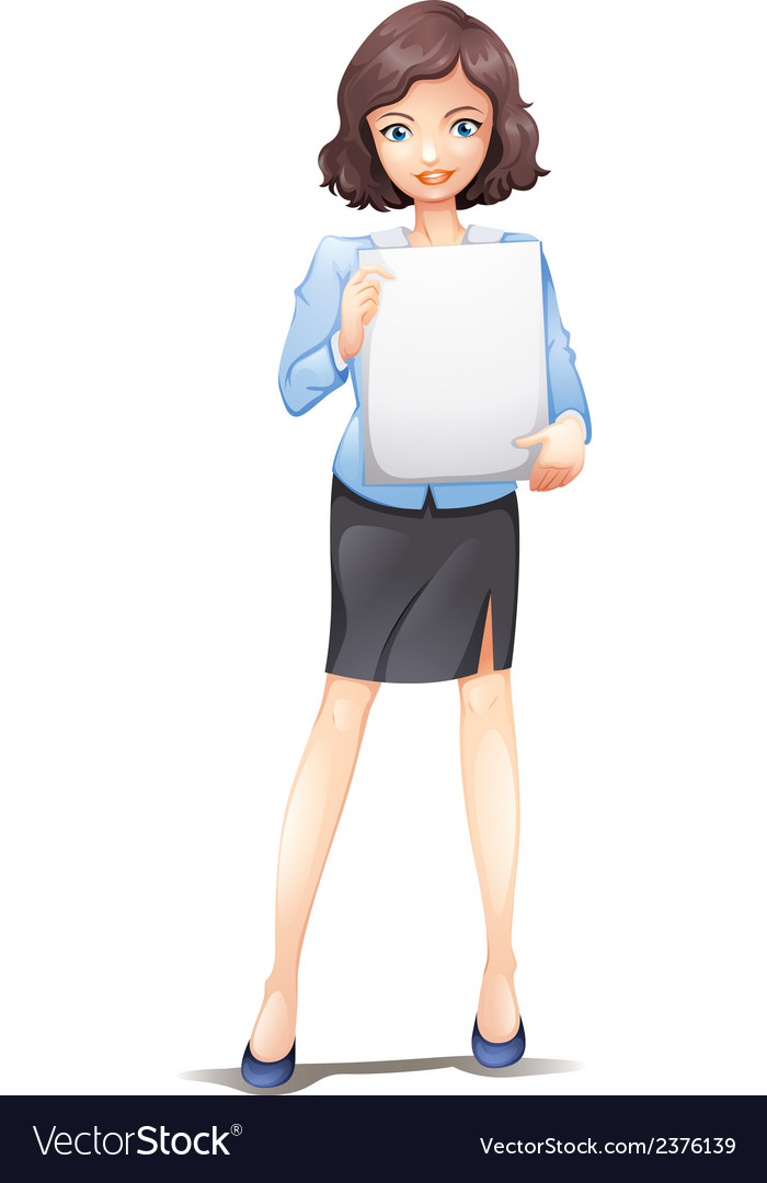 A businesswoman standing with an empty signboard vector | Price: 1 Credit (USD $1)