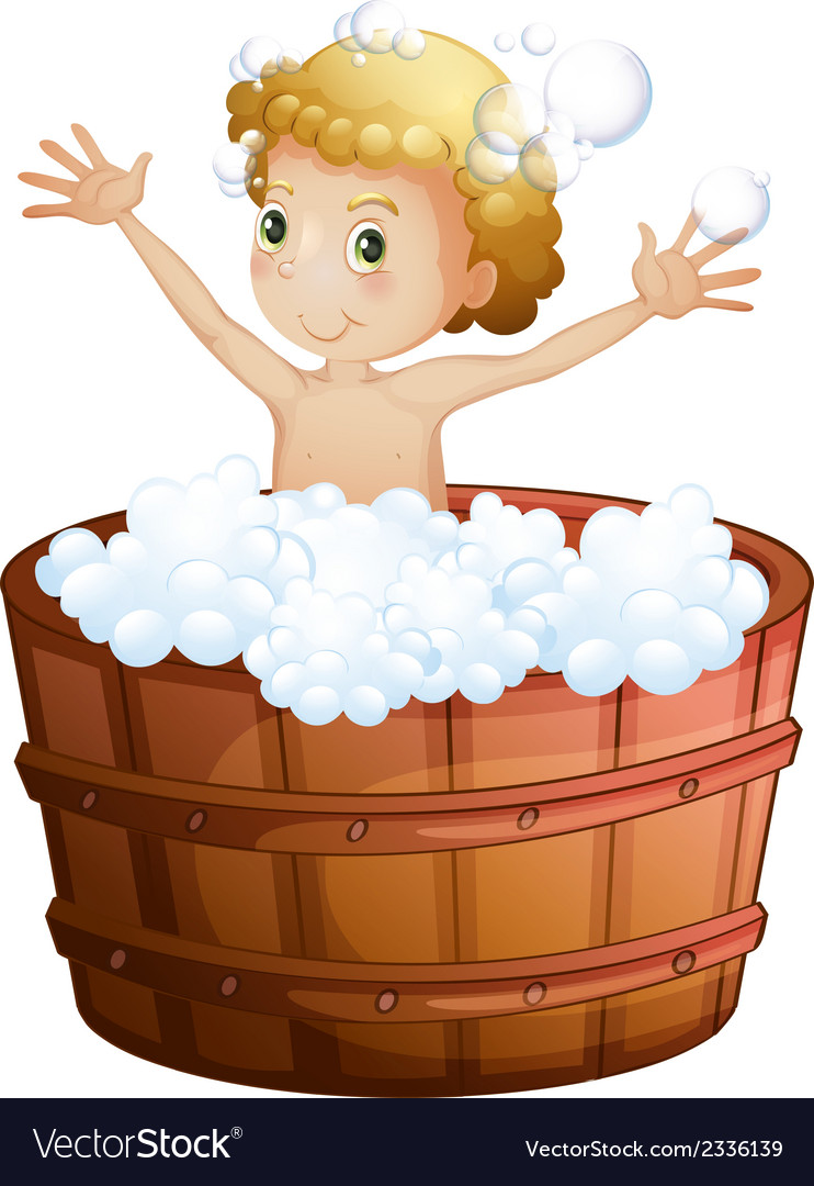 A young boy taking a bath vector | Price: 1 Credit (USD $1)