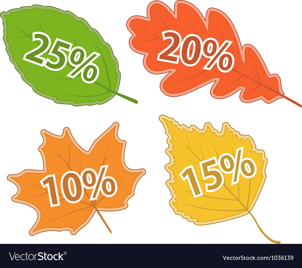 Autumnal leaves with discount values vector | Price: 1 Credit (USD $1)