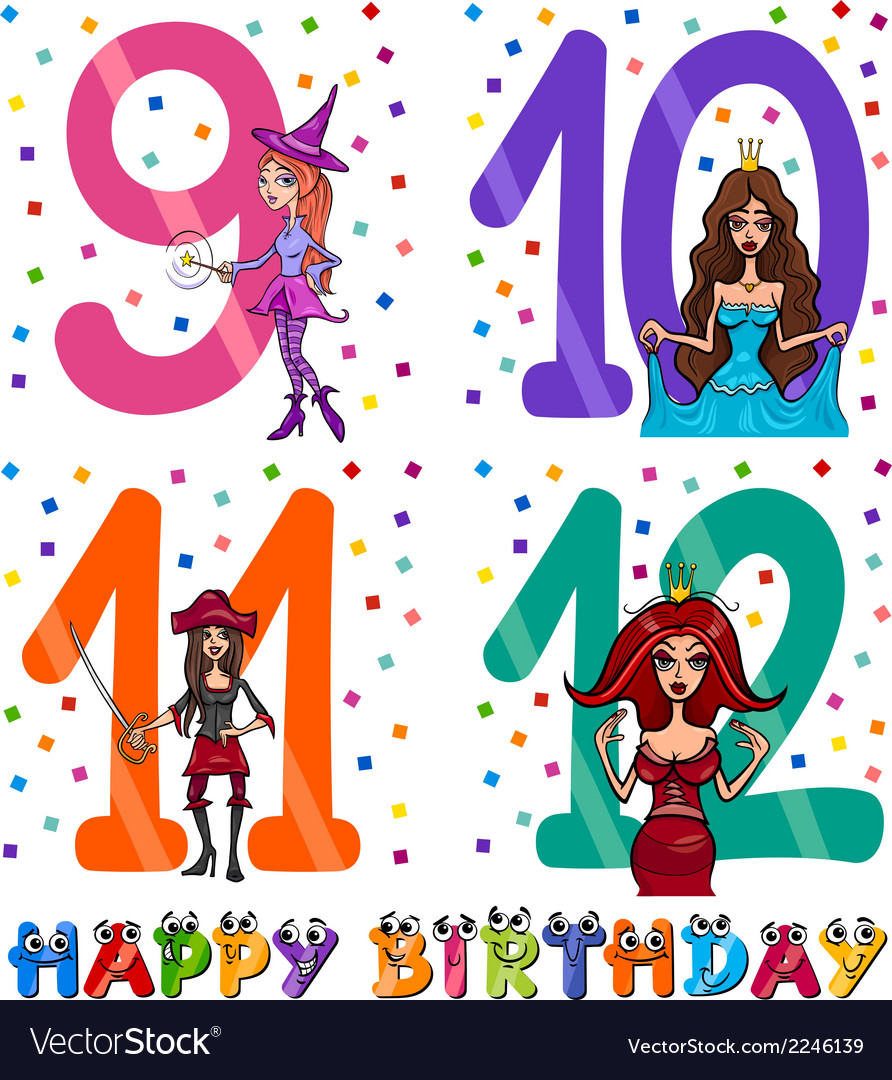 Birthday cartoon design for girl vector | Price: 1 Credit (USD $1)