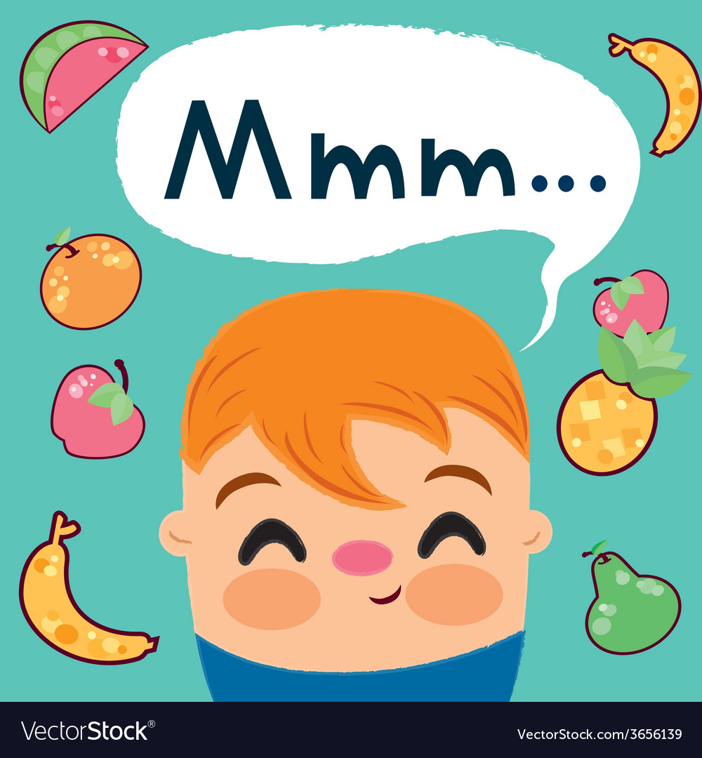 Child-who-loves-to-eat-fruits vector | Price: 1 Credit (USD $1)