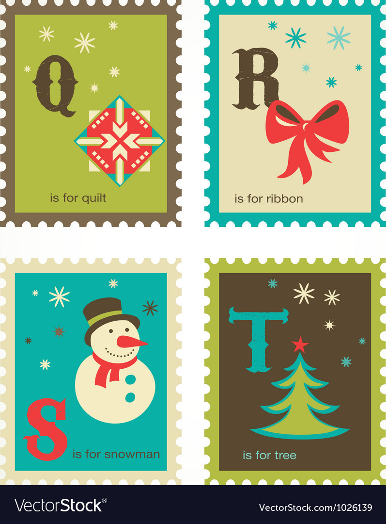 Christmas alphabet with cute xmas icons vector | Price: 1 Credit (USD $1)