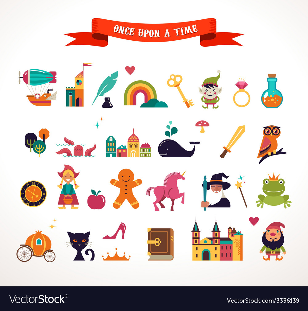 Collection of fairy tale elements icons vector | Price: 1 Credit (USD $1)