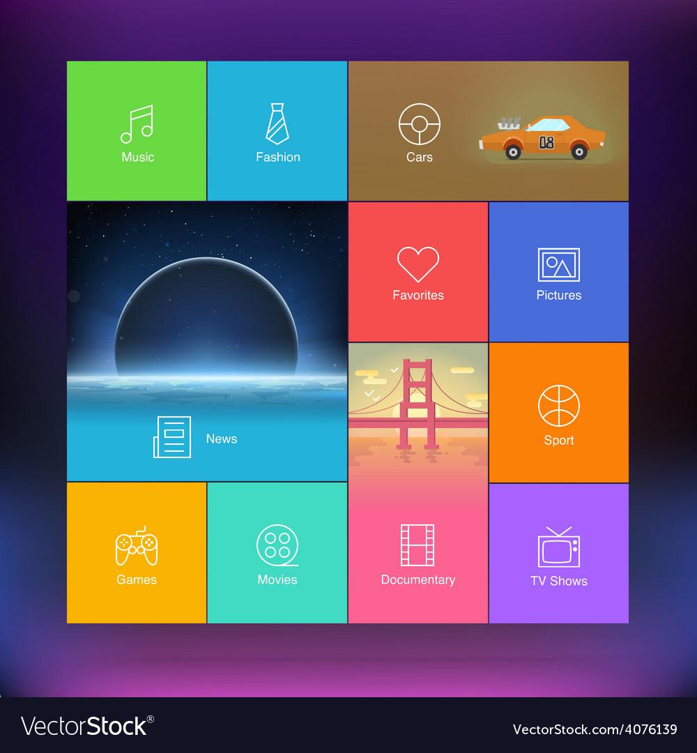 Flat design user interface template vector | Price: 1 Credit (USD $1)