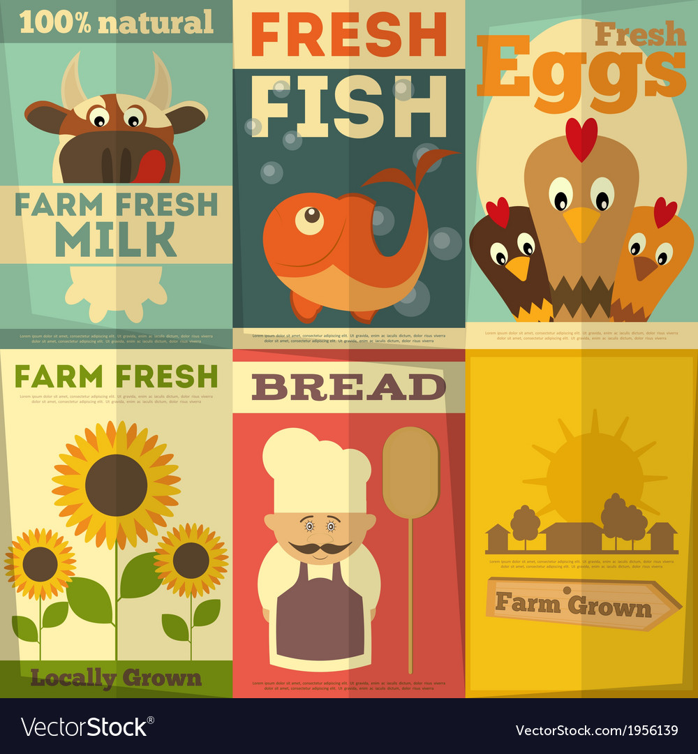 Fresh farm food posters vector | Price: 1 Credit (USD $1)