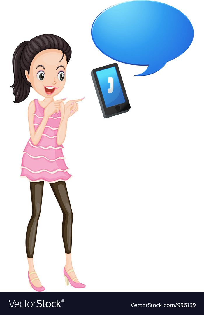 Girl with cell phone vector | Price: 3 Credit (USD $3)