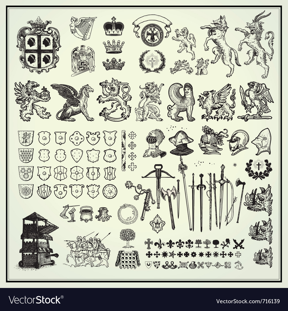 Heraldic elements collection vector | Price: 3 Credit (USD $3)