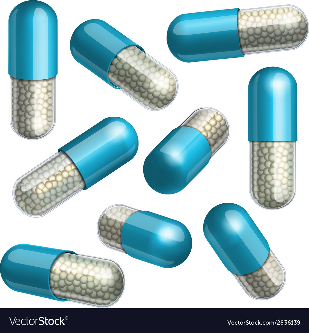 Medical blue capsule with granules vector | Price: 1 Credit (USD $1)