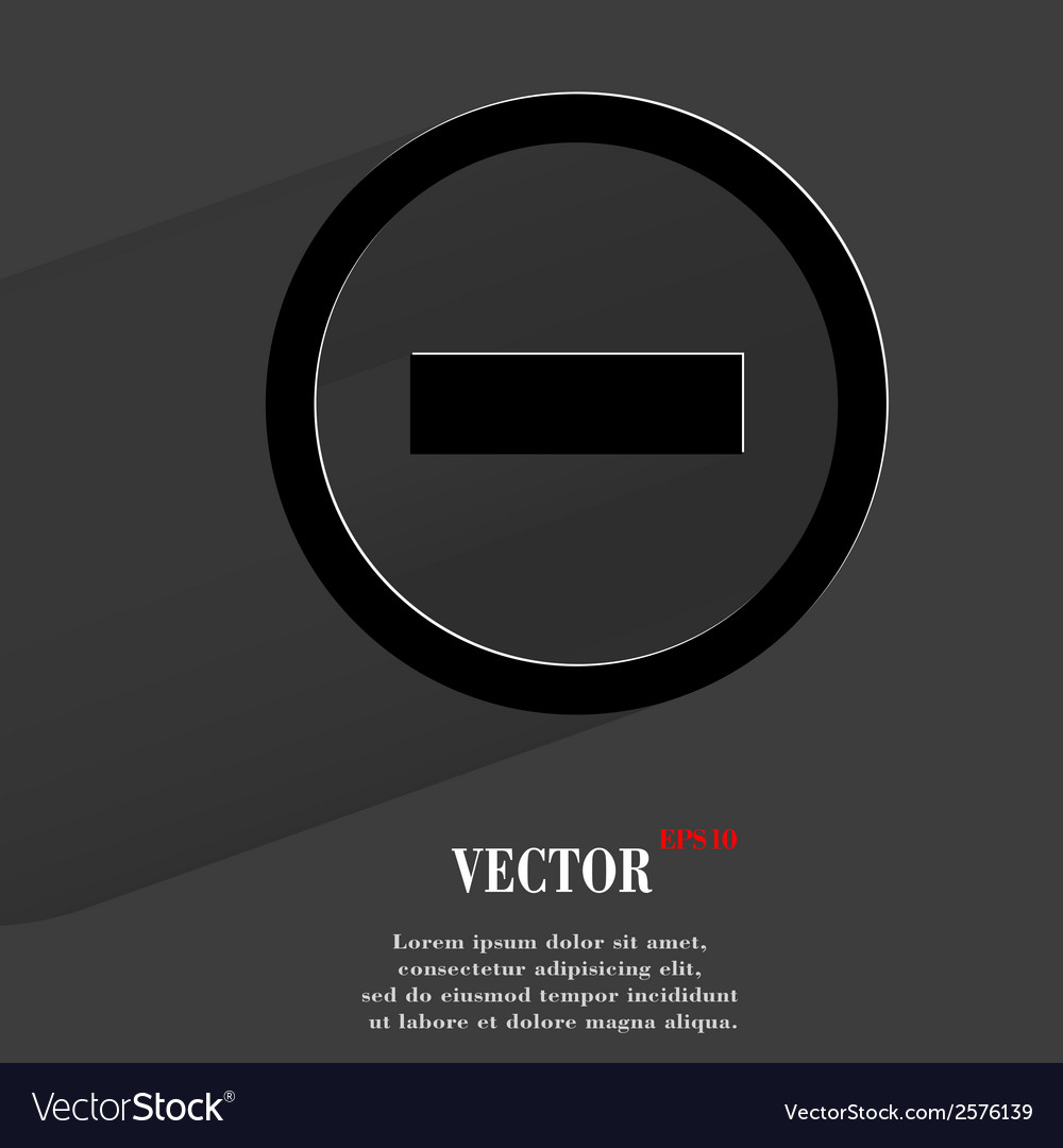 Minus flat modern web button with long shadow and vector | Price: 1 Credit (USD $1)