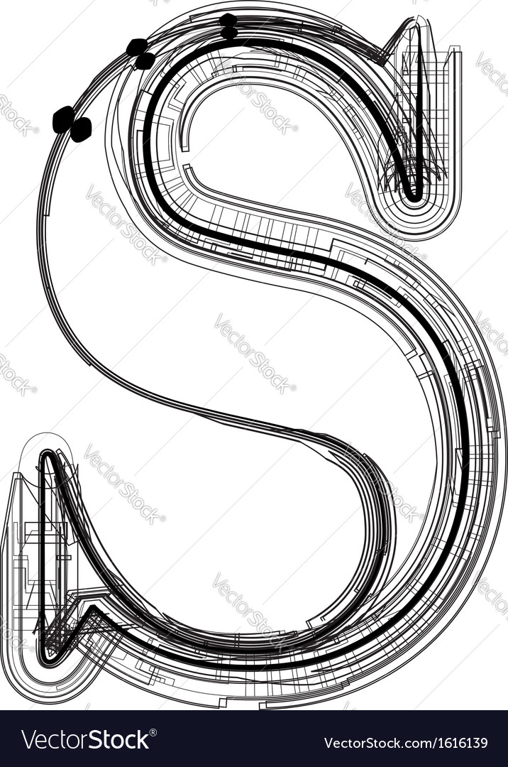 Technical typography letter s vector | Price: 1 Credit (USD $1)