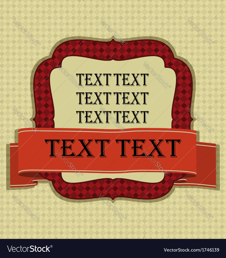 Vintage frame with ribbon and space for text vector | Price: 1 Credit (USD $1)