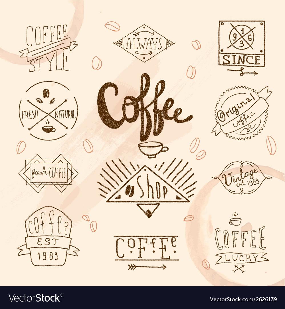 Vintage retro coffee labels vector | Price: 3 Credit (USD $3)