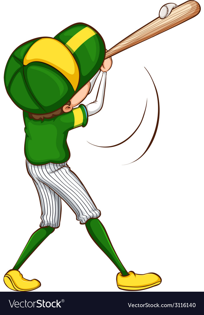 A sketch of a baseball player in green uniform vector | Price: 1 Credit (USD $1)