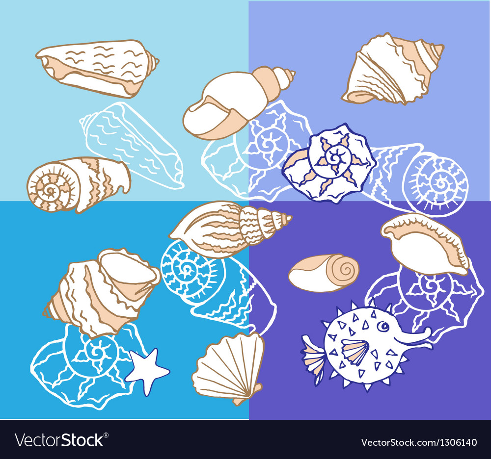 Background with cockleshell vector | Price: 1 Credit (USD $1)