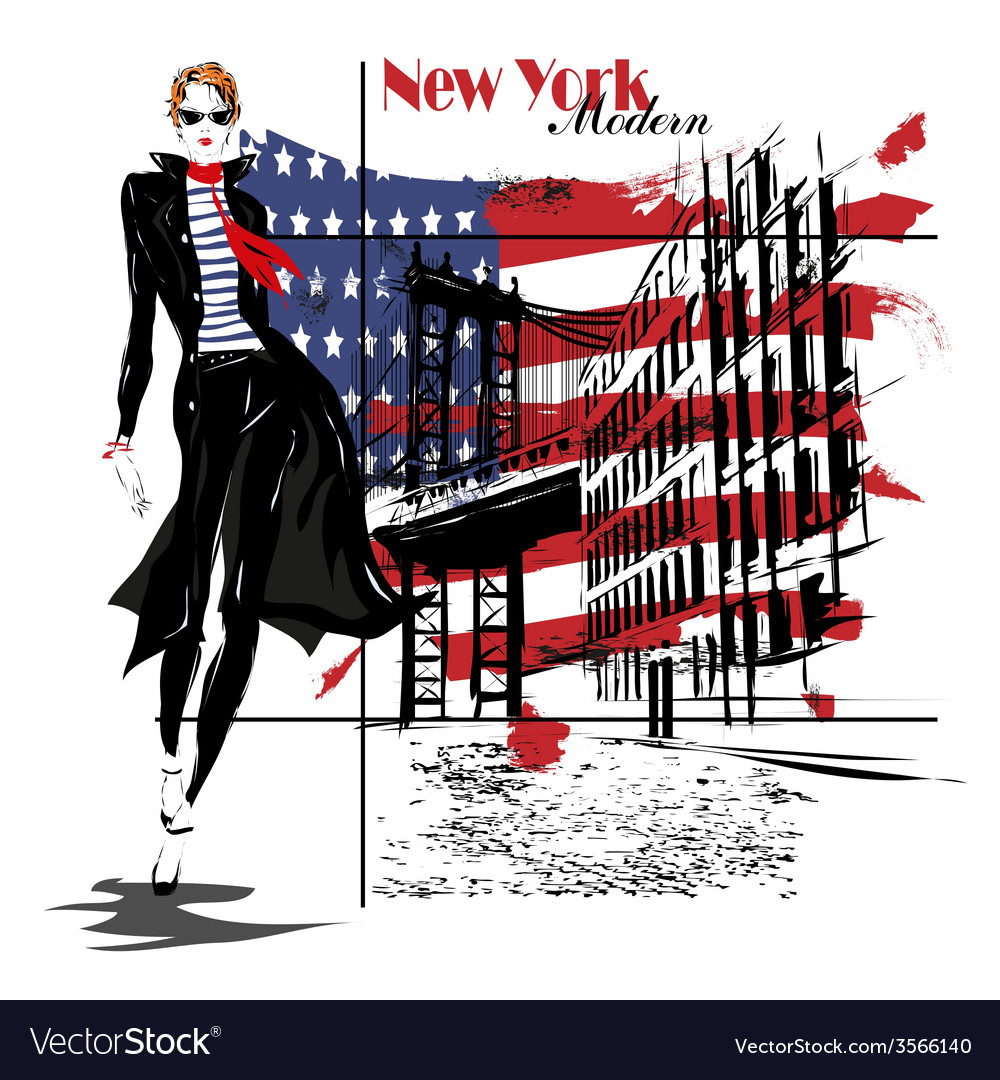 Beautiful young woman with national usa flag vector | Price: 1 Credit (USD $1)