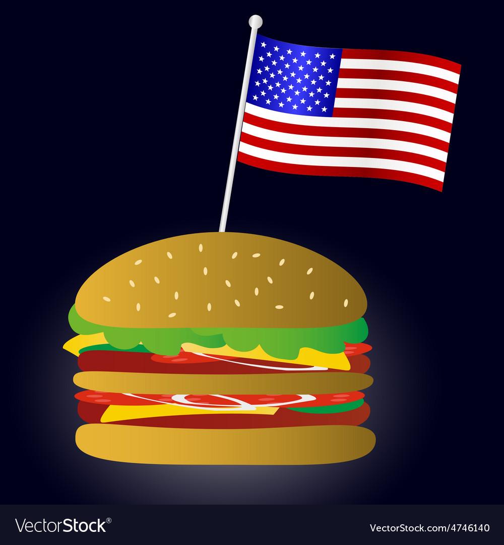 Fastfood hamburger and usa flag symbol eps10 vector | Price: 1 Credit (USD $1)