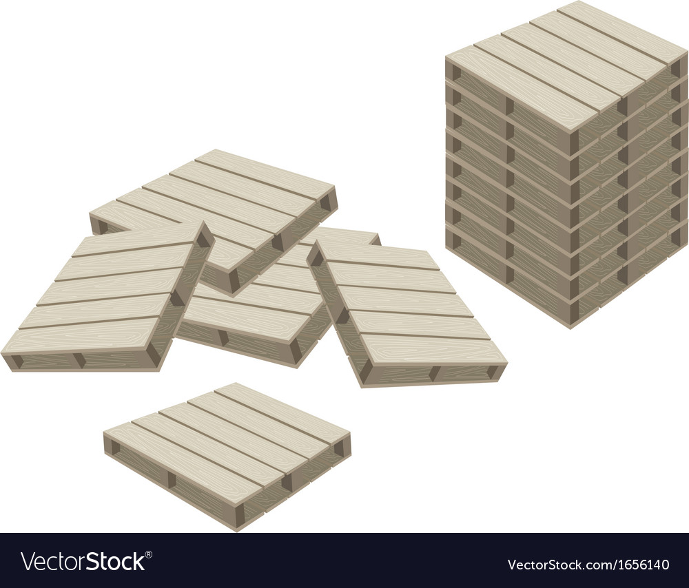 Group of wood pallets on white background vector | Price: 1 Credit (USD $1)