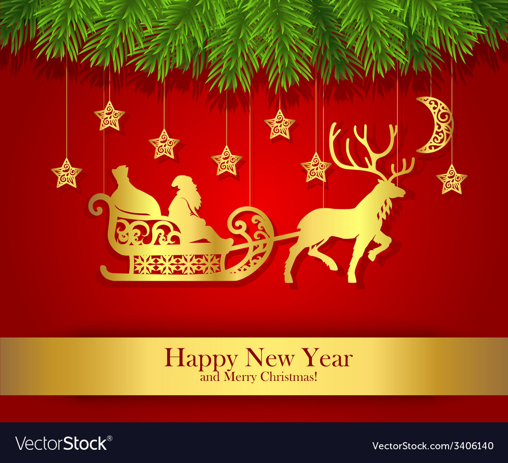 New year greeting card with gold silhouette of vector | Price: 1 Credit (USD $1)