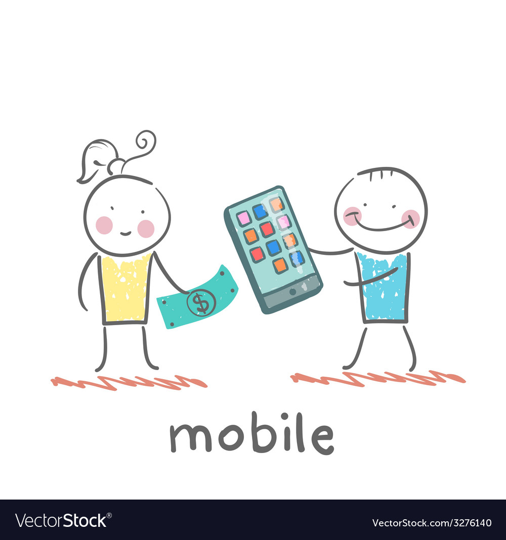 People selling mobile girl vector   Price: 1 Credit (USD $1)